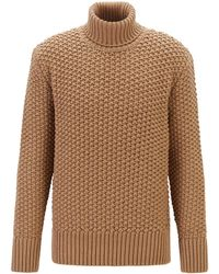 BOSS Wool-blend Roll-neck Jumper With Chunky Structure - Natural