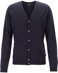 BOSS V-neck Cardigan In Extra-fine Italian Merino Wool - Blue