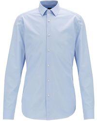 BOSS Slim-fit Shirt In Italian Cotton Poplin - Blue