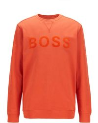 BOSS by Hugo Boss Cotton-blend Sweatshirt With Flock-print Logo - Orange