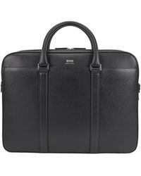 BOSS by Hugo Boss Signature Collection Double Document Case In Palmellato Leather - Black