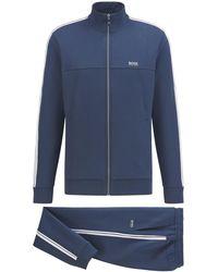 BOSS by HUGO BOSS Regular-fit Tracksuit In Cotton-blend Jersey - Blue