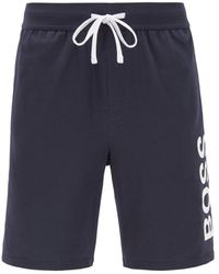 BOSS by HUGO BOSS Pyjama Shorts In Stretch Cotton With Printed Logo - Blue
