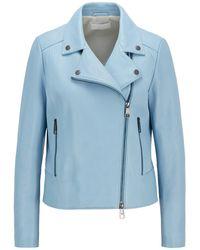 BOSS by HUGO BOSS Biker-style Leather Jacket In Olivenleder® - Blue