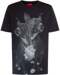 HUGO Regular-fit Cotton T-shirt With Dog Print - Black