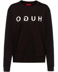 HUGO Sweater Van Interlocked Katoen Met Gespiegeld Logo - Zwart