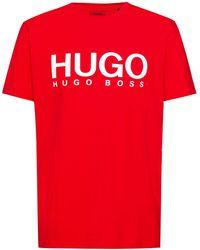 HUGO Regular-fit T-shirt Van Zuivere Katoen Met Logoprint - Rood