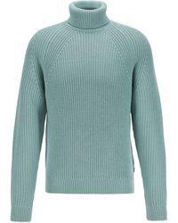 BOSS Virgin-wool Rollneck Sweater With Diagonal Ribbing - Green