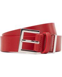 BOSS by HUGO BOSS Ceinture en cuir italien avec boucle logo et garniture en métal - Rouge