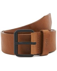 BOSS Vegetable-tanned Leather Belt With Black Roller Buckle - Brown