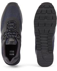 BOSS by HUGO BOSS Hybride Sneakers Van Technisch Materiaal, Mesh En Leer - Blauw