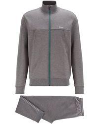 BOSS by HUGO BOSS Regular-fit Tracksuit In Cotton-blend Jersey - Grey