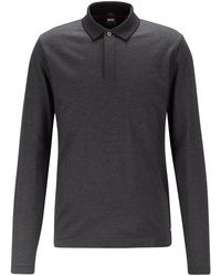 BOSS by Hugo Boss Slim-fit Polo Shirt In Mercerised Cotton Piqué - Black