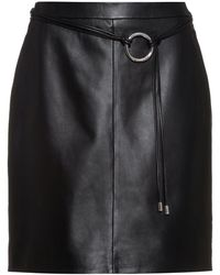 HUGO Leather Pencil Skirt With New-season Hardware Trim - Black
