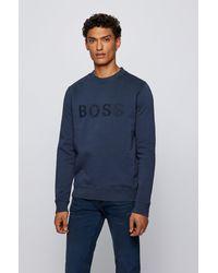 BOSS by HUGO BOSS Sweat Relaxed Fit en coton biologique avec logo brodé - Bleu
