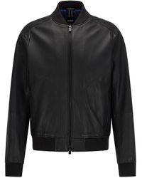 BOSS by HUGO BOSS Regular-fit Bomber Jacket In Lamb Leather - Black