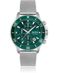 BOSS by HUGO BOSS Montre chronographe à cadran vert et lunette rotative