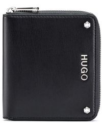 HUGO - Small Zip-around Wallet In Faux Leather With Metal Logo - Lyst
