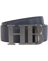 BOSS by Hugo Boss Reversible Leather Belt With Engraved Monogram Plaque Buckle - Blue
