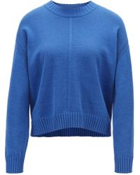 BOSS Oversized-fit Jumper With Mixed Stitching Detail - Blue