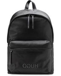 HUGO Mochila de nylon estructurado con logo invertido y asa superior - Negro