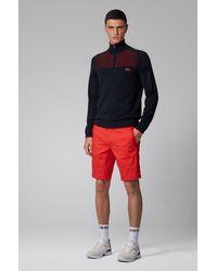 BOSS by HUGO BOSS Shorts slim fit en mezcla de algodón elástico de tejido dobby - Rojo