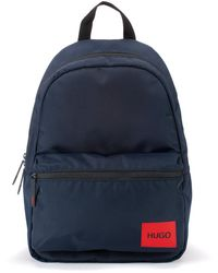 HUGO Backpack In Recycled Nylon With Red Logo Label - Blue