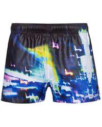 HUGO Quick-drying Swim Shorts With City-lights Print - Black