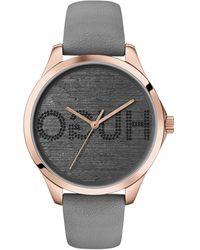 HUGO Horloge Met Lichtgoudkleurige Coating En Wijzerplaat Met Gespiegeld Logo - Grijs
