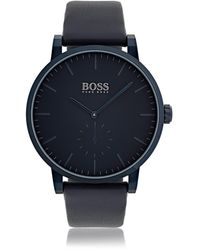 BOSS Plated Stainless-steel Watch With Matt-blue Dial And Leather Strap