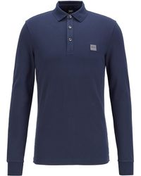 BOSS by Hugo Boss Slim-fit Polo Shirt In Stretch-cotton Piqué - Blue