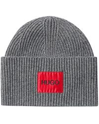 HUGO Wool-blend Beanie Hat With Logo Patch - Grey