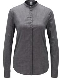 BOSS Relaxed-fit Blouse In Cotton-blend Chambray - Gray