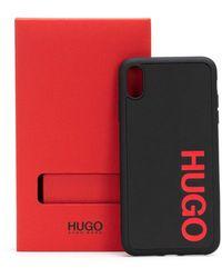 HUGO Logo Phone Case Covered With Leather - Black