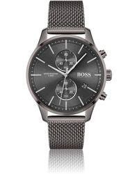BOSS by Hugo Boss Montre chronographe en plaqué gris avec bracelet en maille milanaise - Multicolore