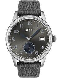BOSS by Hugo Boss 1513683 Men's Legacy Date Leather Strap Watch - Multicolor