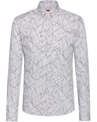 HUGO Extra-slim-fit Shirt With All-over Print - Gray