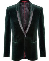 HUGO Extra-slim-fit Velvet Jacket With Contrast Trims - Green