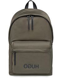 HUGO Reverse-logo Backpack In Structured Nylon With Top Handle - Green