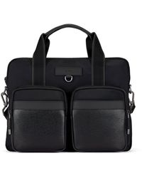 BOSS by HUGO BOSS Structured-nylon Document Case With Leather Trims - Black