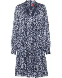 HUGO - Kleid aus fließendem Gewebe mit Schluppe und Pinselstrich-Print - Lyst