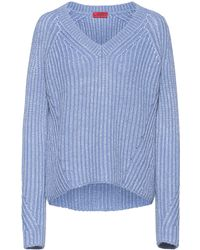HUGO Chunky-knit Relaxed-fit Sweater With Metallic Foil Print - Blue