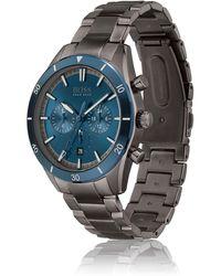 BOSS by HUGO BOSS Uhr mit blauer Lünette, Totalisatoren und Gliederarmband
