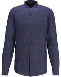 BOSS by Hugo Boss Collarless Slim Fit Shirt In Italian Linen - Blue