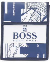 BOSS by HUGO BOSS Bolso de mano tipo 'pochette' de nylon con estructura con ilustración de Tokio - Blanco