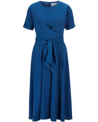 BOSS Lightweight Wrap-front Dress In Stretch Crinkle Crepe - Blue