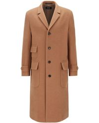 BOSS Slim-fit Double-breasted Long Coat In A Camel-hair Blend - Natural