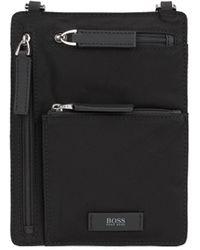 BOSS Italian-nylon Envelope Bag With Logo Patch - Black