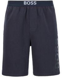 BOSS by HUGO BOSS Pyjamashorts Van Stretchkatoenen Jersey Met Logoprint - Blauw