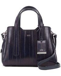 BOSS Mini Tote Bag In Glossy Italian Eelskin - Blue